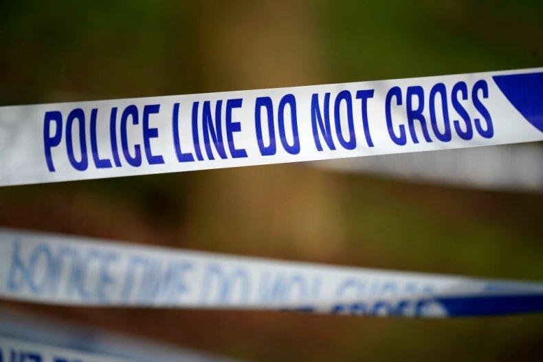 Police tape stock image crime scene UK