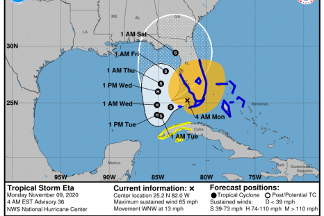Tropicla Storm Eta path