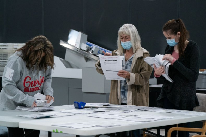 Georgia Poll Workers Separate Ballots