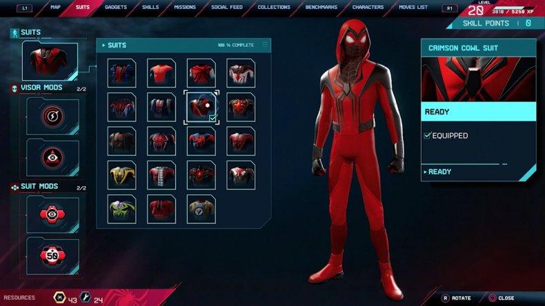 spiderman miles morales crimson cowl suit