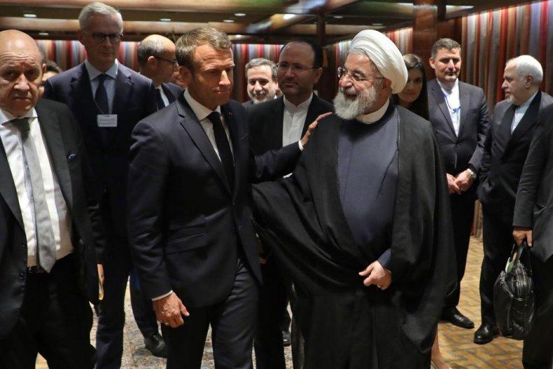Macron and Hassan Rouhani