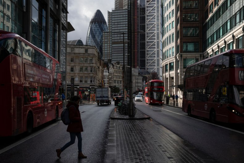 City of London banking district during covid
