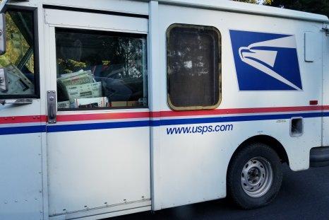 U.S. Postal Service delivery truck, California, 2017