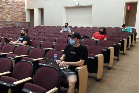 students college campus masks lecture