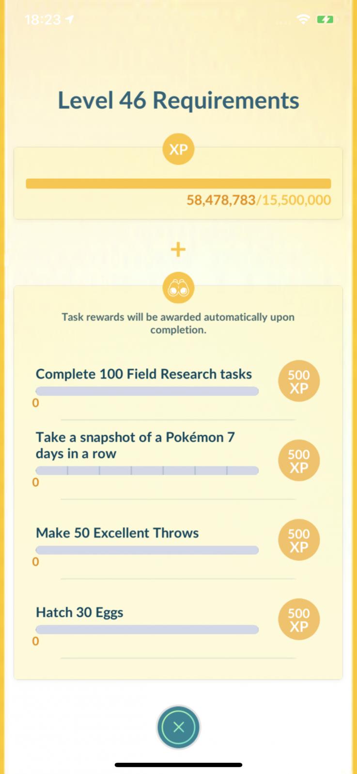 pokemon go level requirements