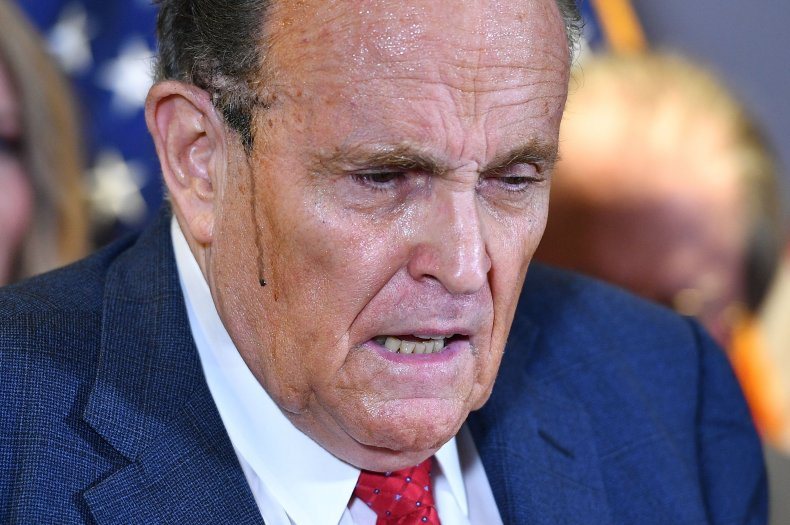 rudy, giuliani, sweat, press, conference