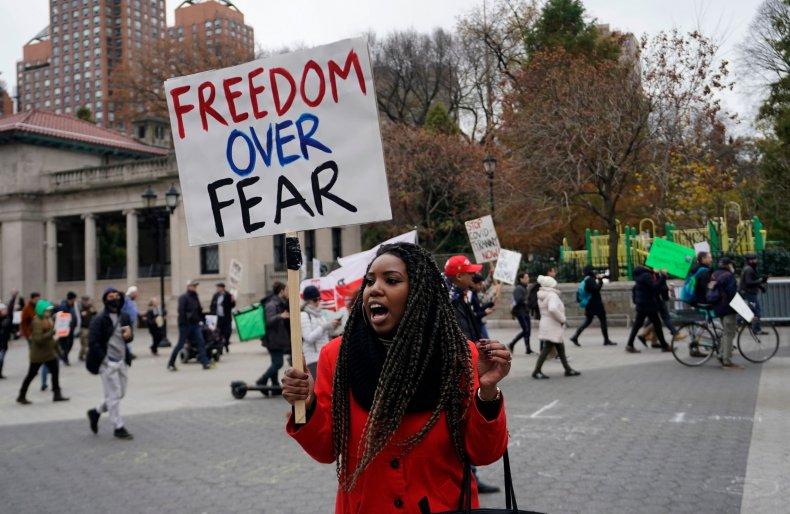 New York City anti-lockdown protest November 2020
