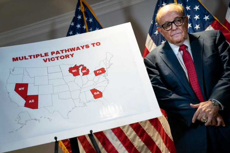 Rudy Giuliani with Lawsuits Map