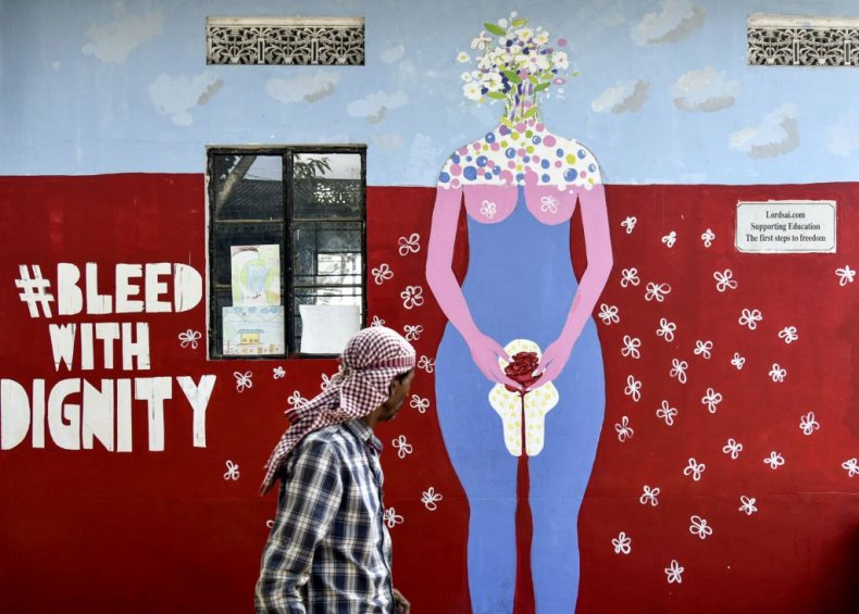 Painting about menstruation in Guwahati, India