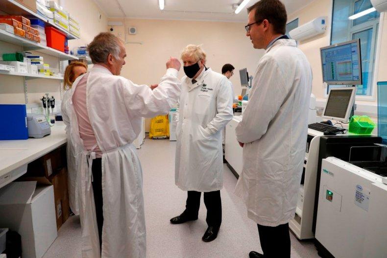 Boris Johnson at Porton Down science lab