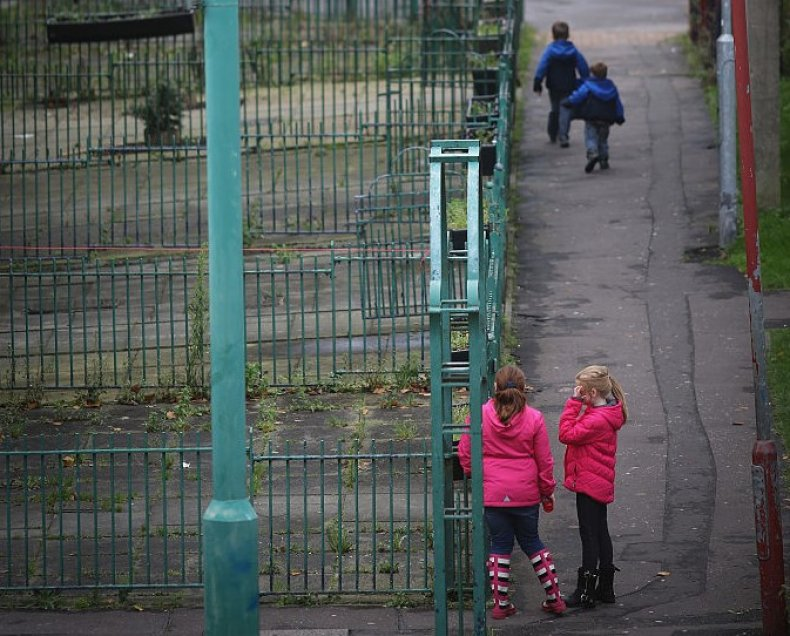 Children play in Rochdale, England