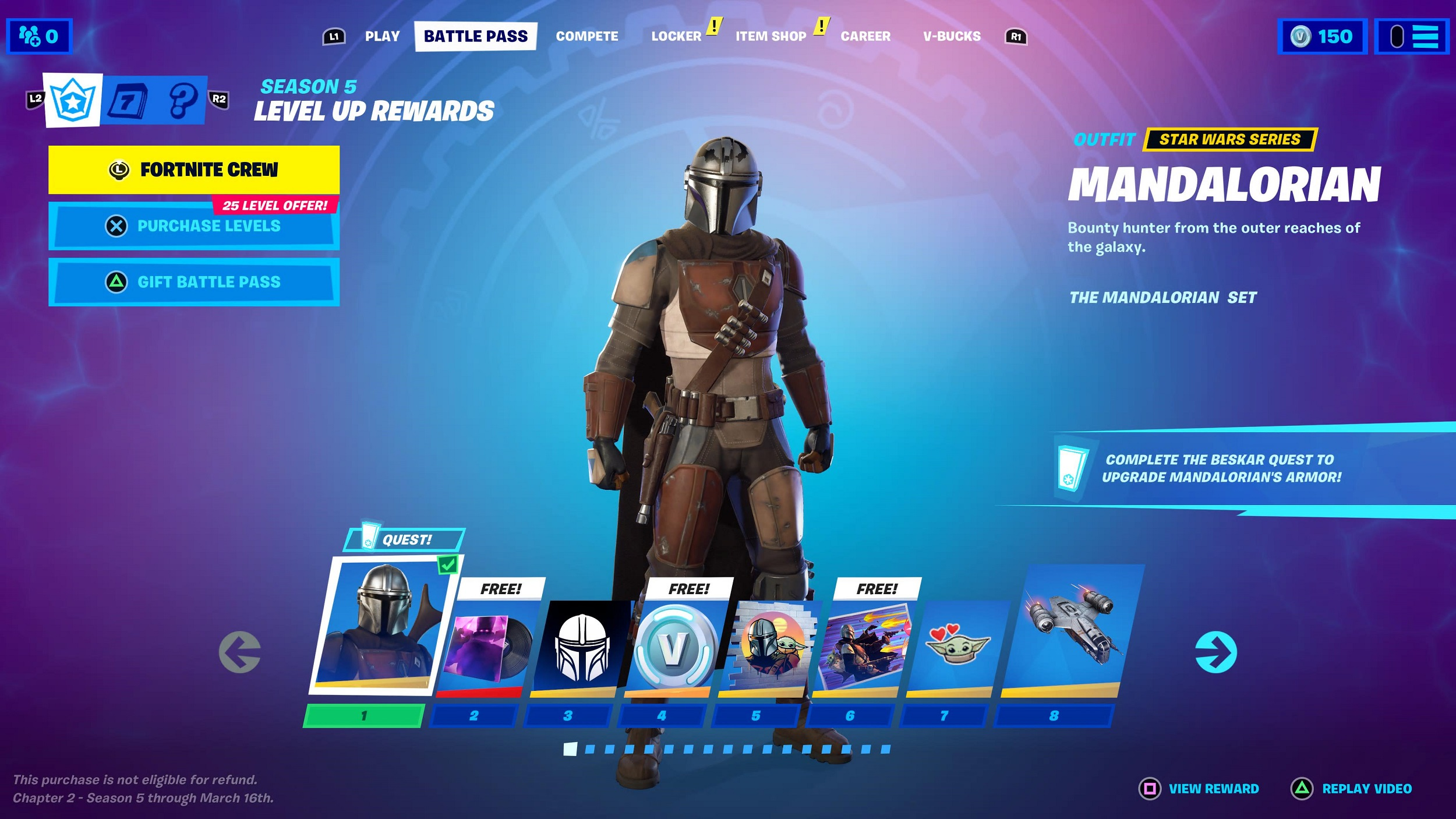 Fortnite Chapter 2 Season 5 Battle Pass Skins To Tier 100 Mandalorian Lexa And More However, players need to complete beskar challenges in order to unlock different mandalorian armor pieces. fortnite chapter 2 season 5 battle