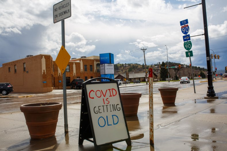"US-HEALTH-VIRUS-SOUTH DAKOTA-BUSINESS A sign reading ""COVID is"