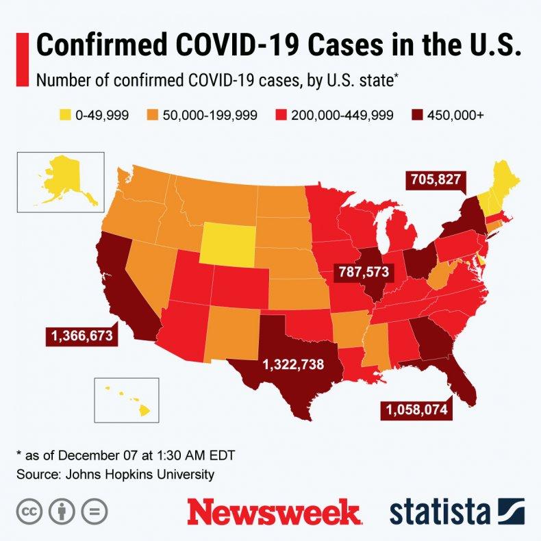 COVID-19 cases across U.S.