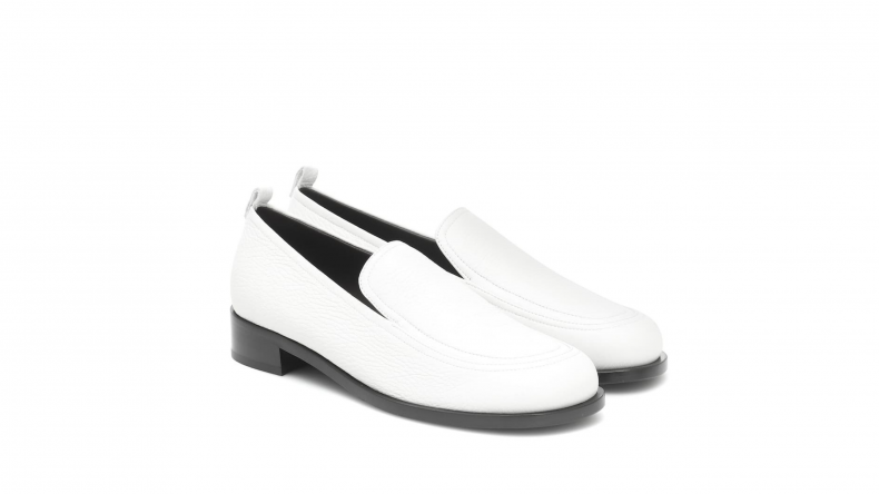 The Row White Leather Loafers