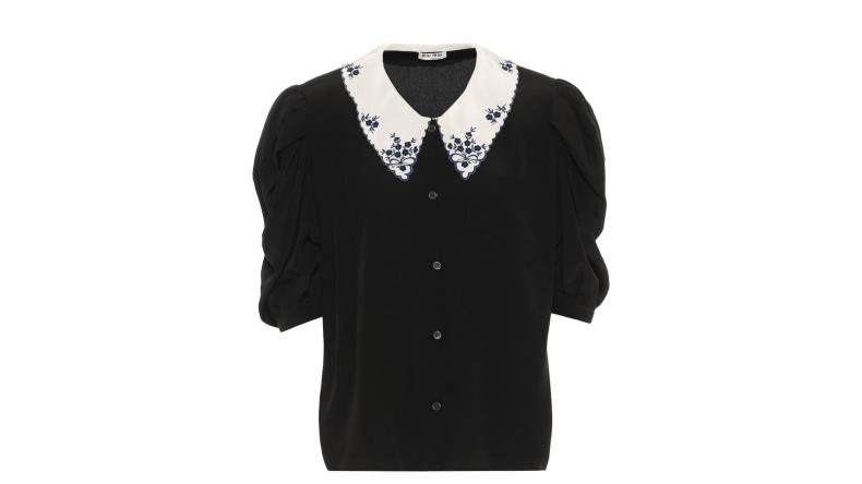 Miu Miu Embroidered Silk Blouse