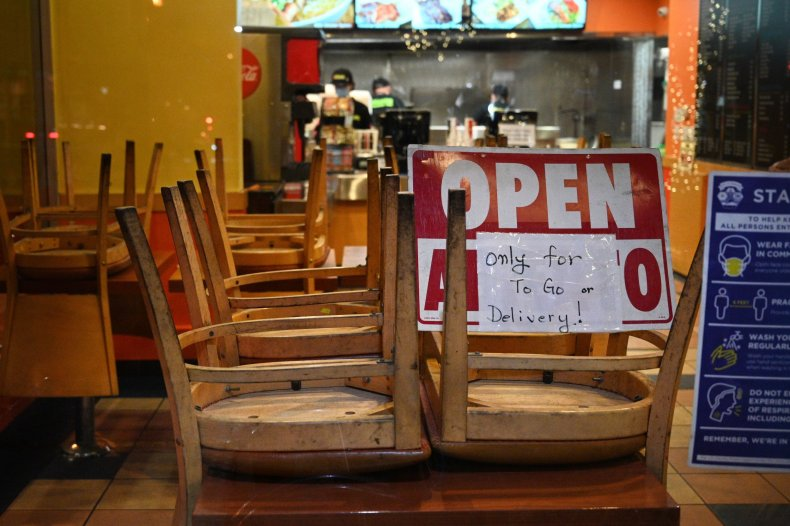 US-HEALTH-VIRUS-RESTAURANT Employees work in a restaurant open