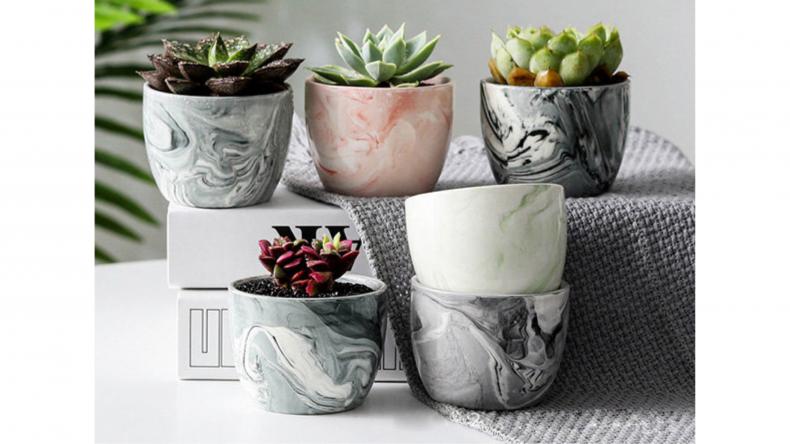 Marble-Patterned Ceramic Flower Pots