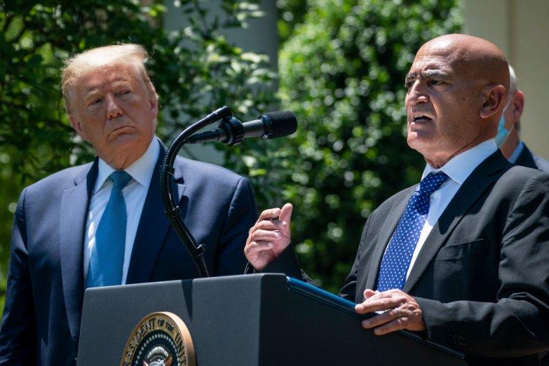 Moncef Slaoui and Donald Trump