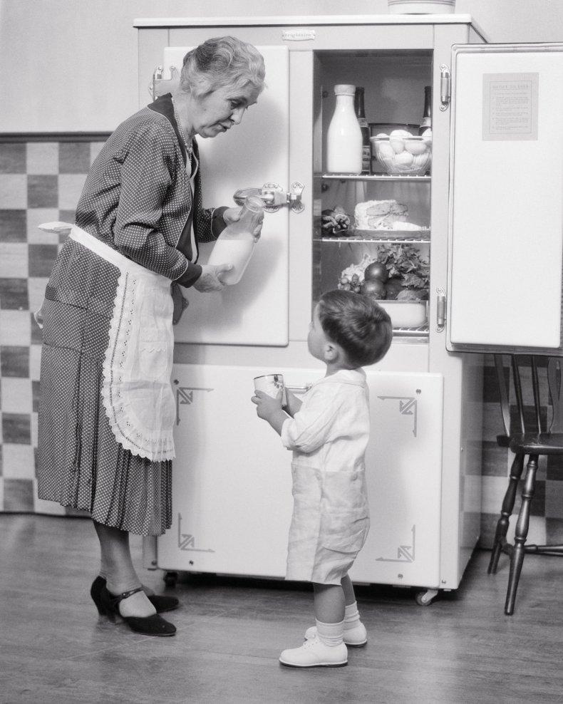 Toddler Refrigerator Stock Image Funny