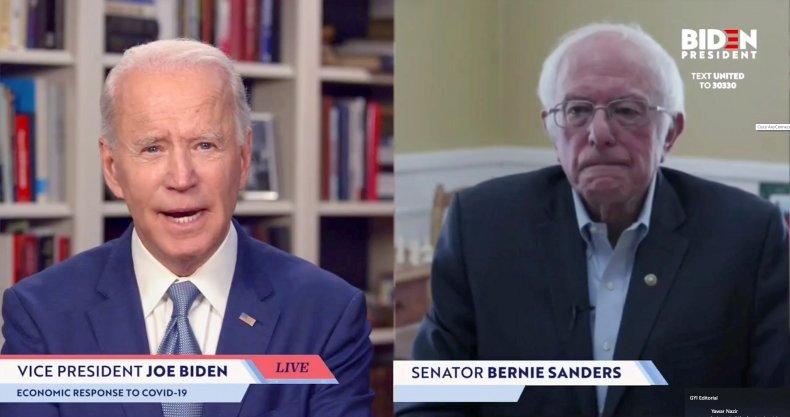 Joe Biden and Bernie Sanders screengrab