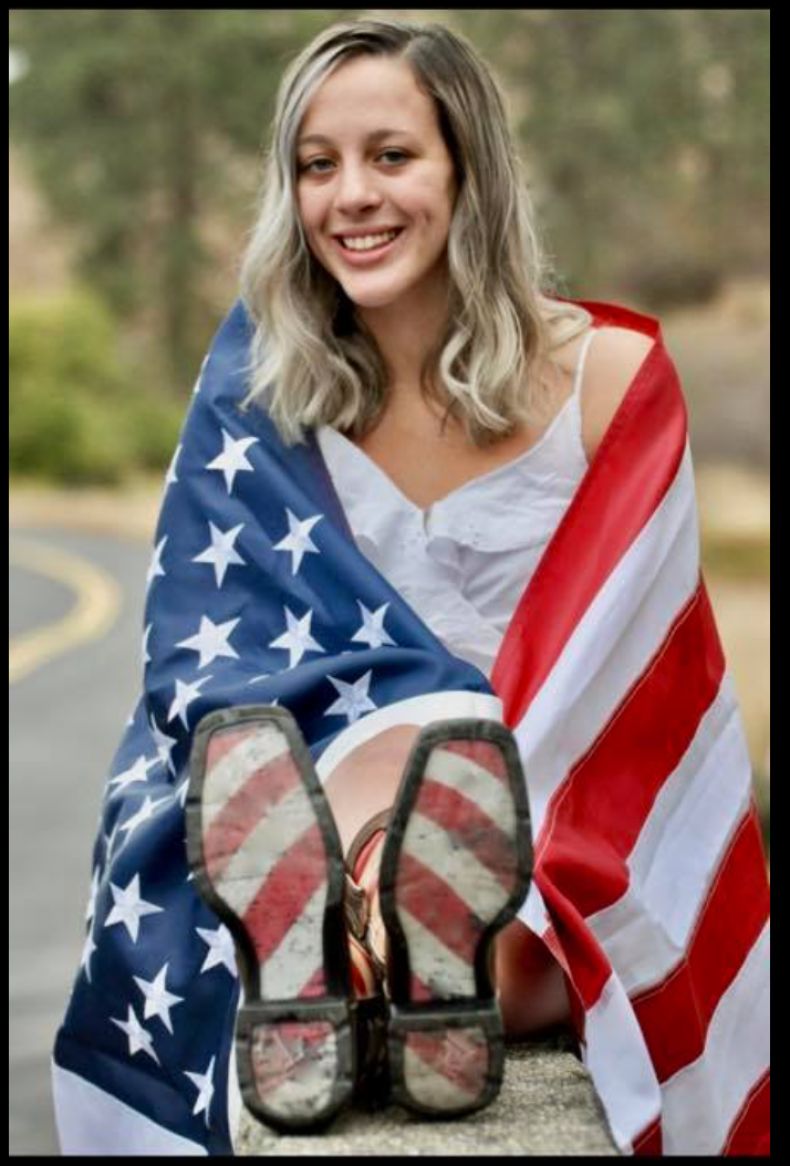 High School Senior American Flag Photo