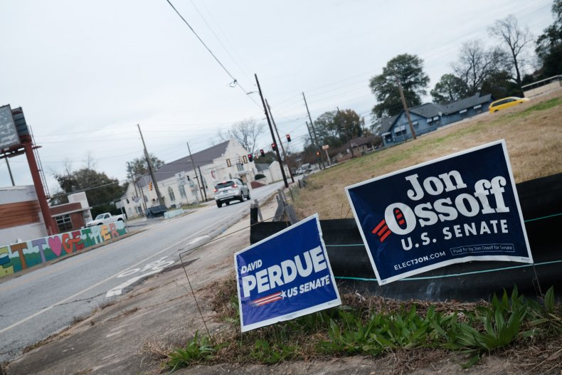 yard signs Ossoff and Perdue in Georgia