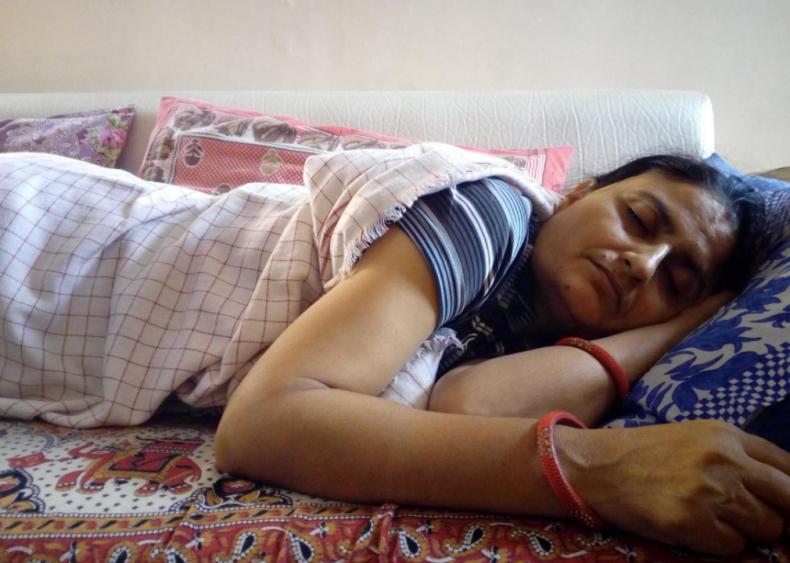 South India: Women tie hair up before sleep