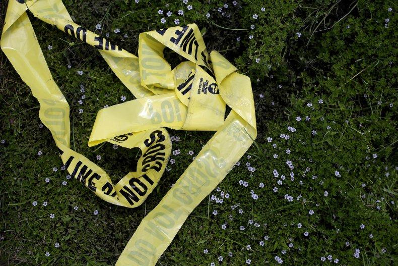 Yellow police crime scene tape