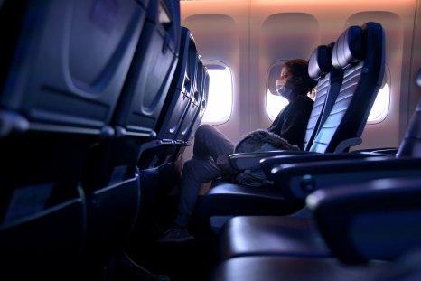 Masked passenger on flight October 2020