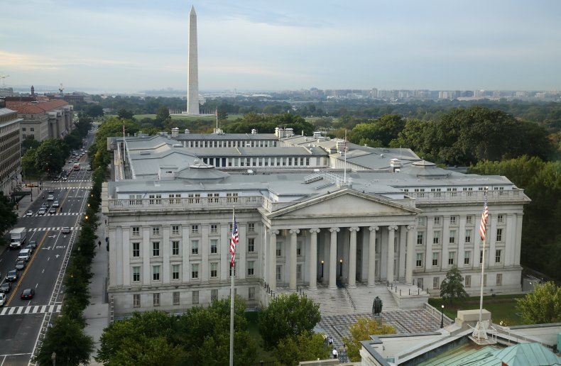 Treasury building as reports link hack Russia