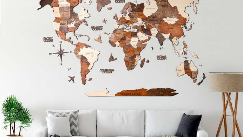 EnjoyTheWood™ 3D Multicolor World Map Wall Decor