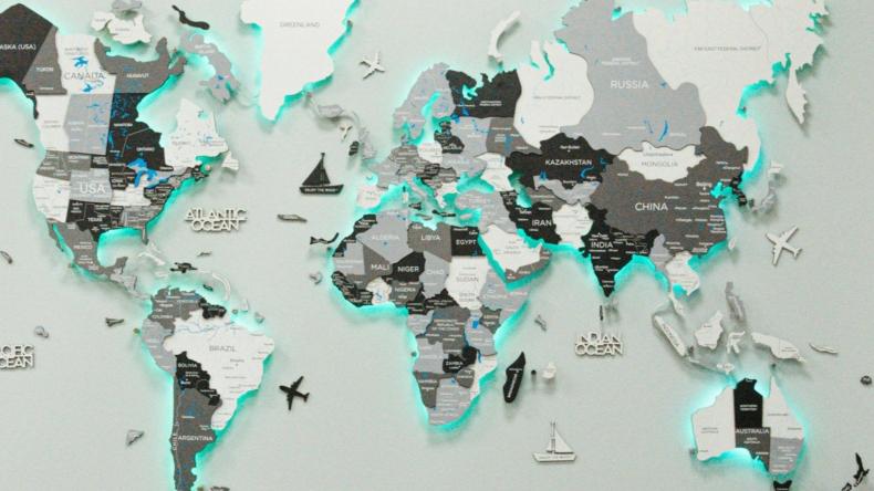EnjoyTheWood™ Grey LED World Map