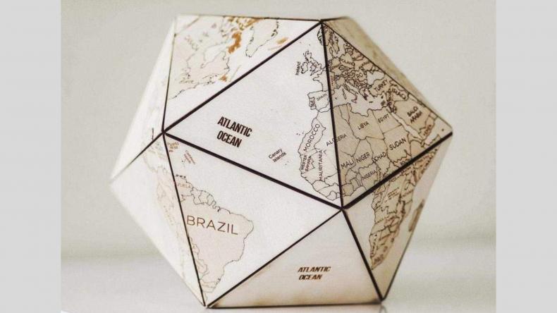 EnjoyTheWood™ World Globe Office Supplies Wooden Icosahedron
