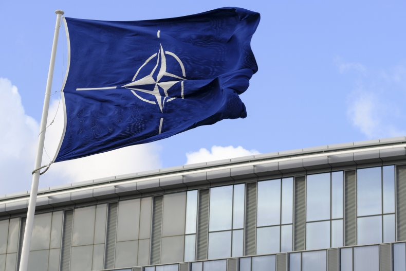 View of NATO flag in Brussels