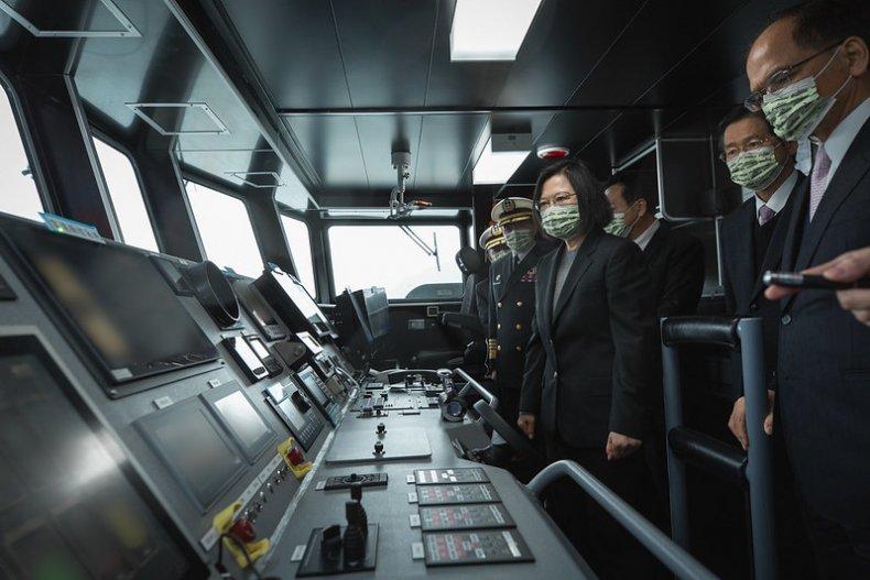 Taiwan President Tsai Ing-Wen Inspects New Warship