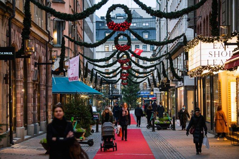 Christmas shopping in Stockholm Sweden December 2020