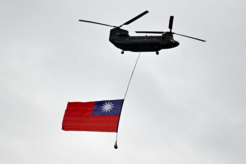 Helicopter Flies Taiwan Flag on National Day