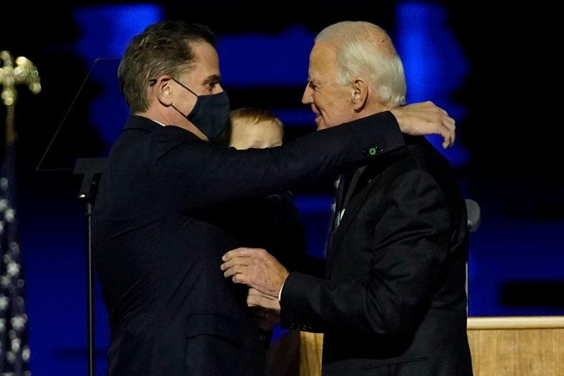 Joe and Hunter Biden embrace on November