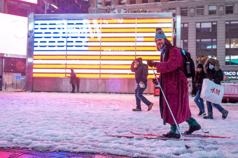 A man on skis in New York