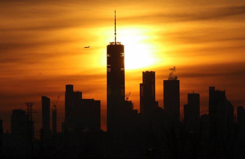 Winter solstice sunrise above New York City