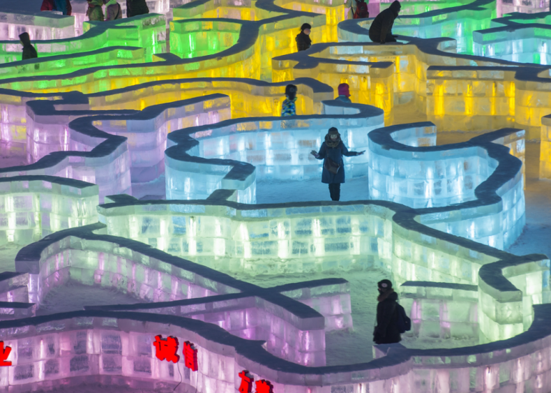 Ice maze at the Harbin International Ice and Snow Festival