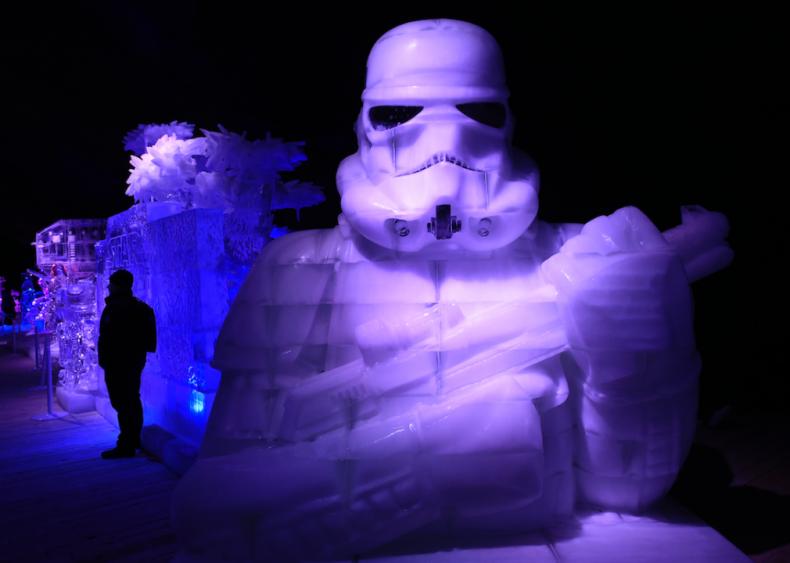 Stormtrooper ice sculpture in Liège, Belgium