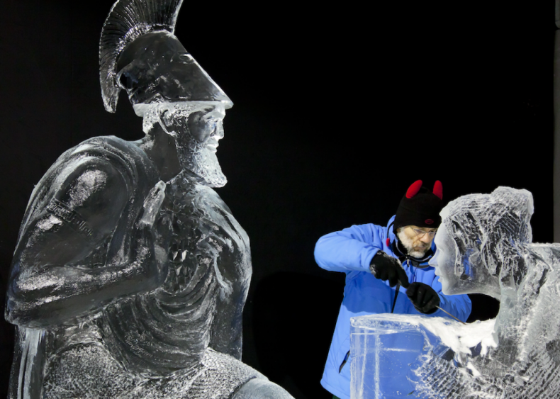 Ice artist at the Dutch Ice Sculpture Festival