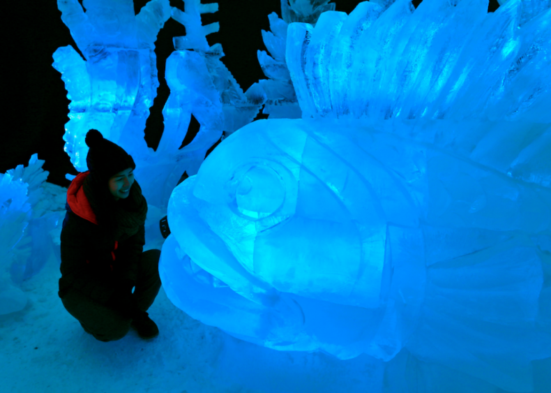 Fish ice sculpture in Pustevny, Czechia