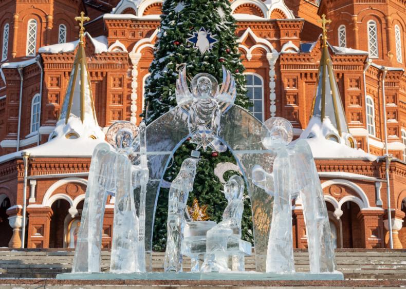 Religious ice sculpture in Izhevsk, Russia