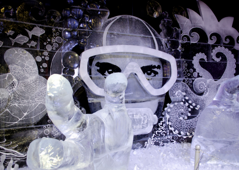 Ice sculpture of a diver in St. Petersburg, Russia