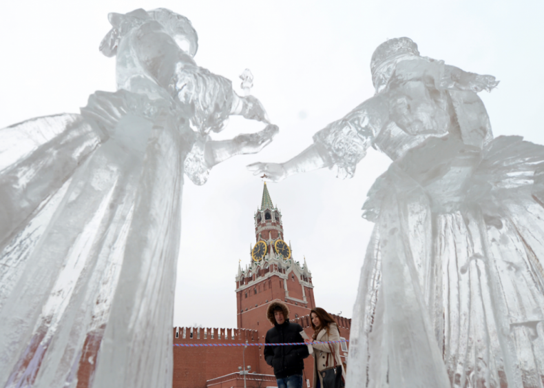 Ice sculptures in Victory Park in Moscow, Russia