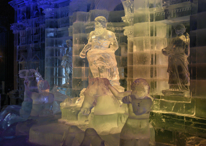 Ice replica of Rome's Trevi Fountain in Moscow, Russia