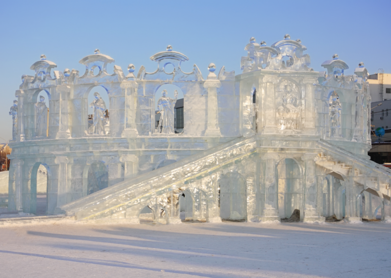 A theater sculpted from ice in Perm, Russia